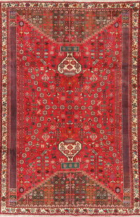 Vintage Tribal Red Kashkoli Persian Area Rug 7x10