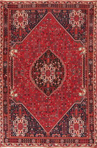 Vintage Tribal Red Abadeh Persian Area Rug 5x8