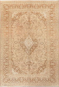Muted Distressed Floral Mashad Persian Area Rug Wool 7x9