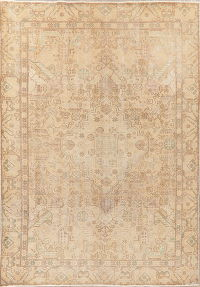 Muted Distressed Vintage Tabriz Persian Area Rug Wool 6x9
