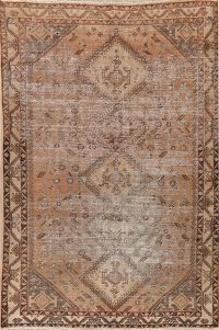 Antique Muted Distressed Shiraz Persian Area Rug 7x10