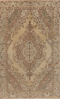Vintage Floral Tabriz Persian Distressed Area Rug 6x9
