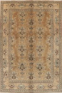 Vintage Muted Distressed Tabriz Persian Area Rug 7x10