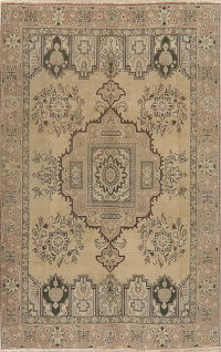 Vintage Geometric Tabriz Distressed Persian Area Rug 6x9