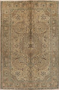 Vintage Floral Tabriz Distressed Persian Area Rug 7x10