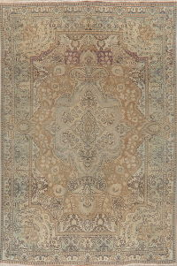 Muted Distressed Vintage Tabriz Persian Area Rug Wool 7x10
