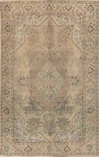 Vintage Muted Distressed Tabriz Persian Area Rug 6x10