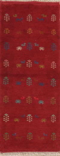 Tribal Red Gabbeh Shiraz Persian Runner Rug Wool 3x7
