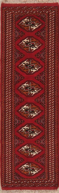 Geometric Red Bokhara Oriental Runner Rug Wool 2x6