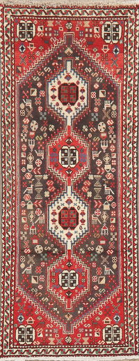 Tribal Geometric Abadeh Persian Runner Rug Wool 2x5