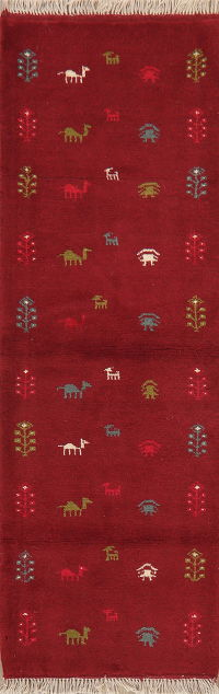 Tribal Red Gabbeh Shiraz Persian Runner Rug Wool 2x6