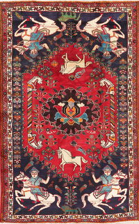 Hunting Design Red Shiraz Persian Area Rug Wool 6x10