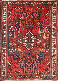 Geometric Red Bakhtiari Persian Area Rug Wool 7x10