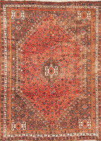 Antique Tribal Red Shiraz Persian Area Rug Wool 7x9
