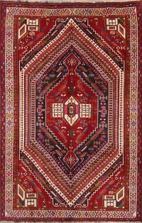 Geometric Red Kashkoli Persian Area Rug Wool 6x9