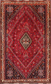 Tribal Geometric Red Abadeh Persian Area Rug Wool 6x9
