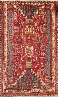 Vintage Red Tribal Kashkoli Persian Area Rug Wool 6x9