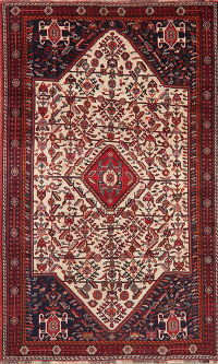 Antique Tribal Geometric Abadeh Persian Area Rug Wool 5x8