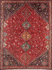 Antique Tribal Red Abadeh Persian Area Rug Wool 8x10