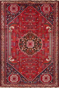 Vintage Tribal Red Shiraz Persian Area Rug Wool 7x9