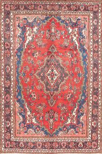 Vintage Floral Red Hamedan Persian Area Rug Wool 7x10