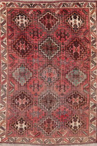 Antique Red Geometric Shiraz Persian Area Rug Wool 6x8