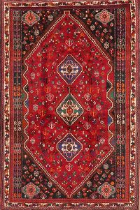 Tribal Red Abadeh Persian Area Rug Wool 6x9