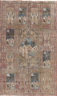 Antique Pictorial Tabriz Persian Area Rug Wool 6x9
