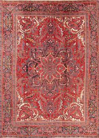 Vintage Red Geometric Heriz Persian Area Rug Wool 8x11
