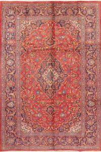 Vintage Floral Red Mashad Persian Area Rug Wool 7x10