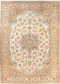 Vintage Floral Ivory Isfahan Persian Area Rug 9x11