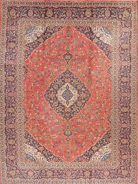Vintage Floral Red Kashan Persian Area Rug Wool 10x13