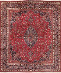 Vintage Floral Red Mashad Persian Area Rug Wool 9x11