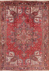 Vintage Geometric Red Heriz Persian Area Rug Wool 9x12