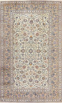 Vintage All-Over Floral Green Kashan Persian Area Rug 8x13