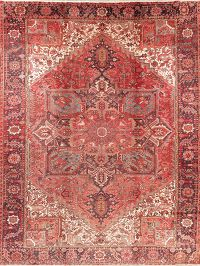 Vintage Geometric Red Heriz Persian Area Rug Wool 10x13