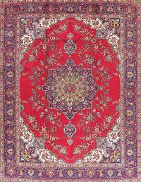 Vintage Floral Red Tabriz Persian Area Rug Wool 10x13