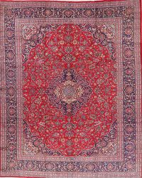 Vintage Floral Red Mashad Persian Area Rug Wool 10x12