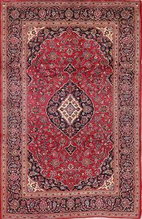 Vintage Floral Red Kashan Persian Area Rug Wool 7x11