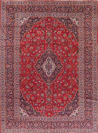 Traditional Floral Red Kashan Persian Area Rug Wool 9x13
