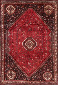 Vintage Tribal Red Shiraz Persian Area Rug Wool 7x11