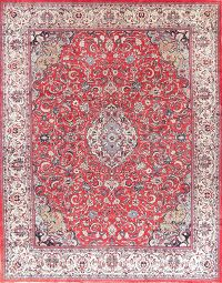 Vintage Red Floral Sarouk Persian Area Rug Wool 10x13