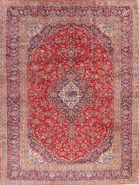Traditional Floral Red Kashan Persian Area Rug Wool 10x13