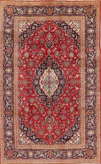 Traditional Floral Red Kashan Persian Area Rug Wool 7x11