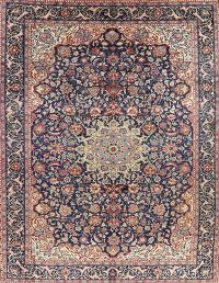 Navy Blue Floral Mashad Persian Area Rug Wool 10x13