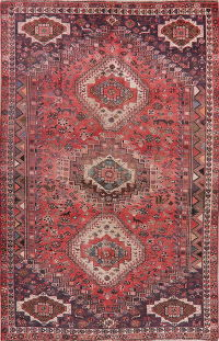 Vintage Red Tribal Shiraz Persian Area Rug Wool 6x10