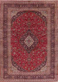 Traditional Floral Red Kashan Persian Area Rug Wool 10x14