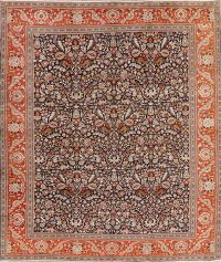 Navy Blue All-Over Floral Tabriz Persian Area Rug 10x12