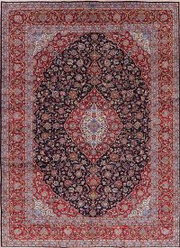 Traditional Floral Navy Blue Kashan Persian Area Rug 10x13