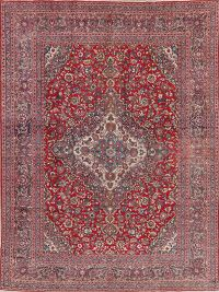 Vintage Floral Red Mashad Persian Area Rug Wool 9x12